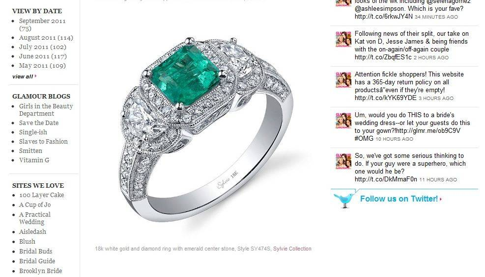 5 Engagement Rings with Colorful Center Stones on Glamour.com Weddings