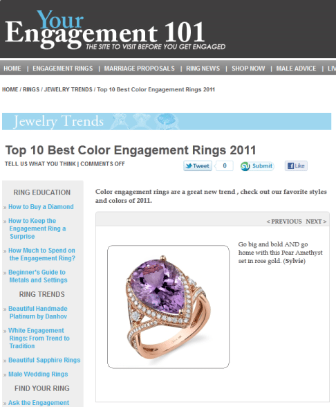 Top 10 Best Color Engagement Rings 2011