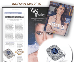 """InDesign"" Magazine Showcases Vintage Inspired Sapphire Engagement Ring From The Sylvie Collection!"