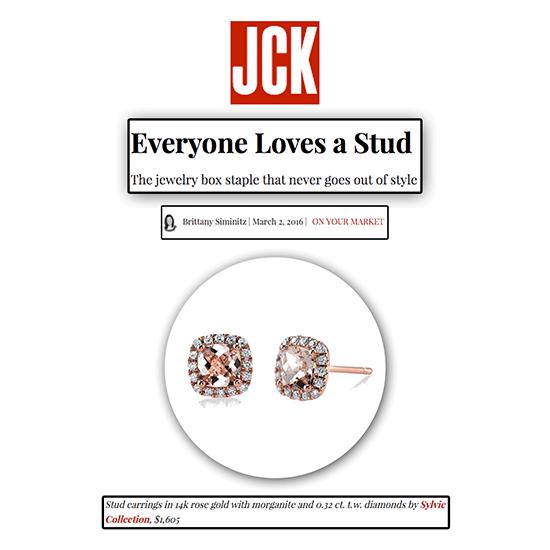 """JCK - On Your Market"" Selects Sylvie's Blushing Morganite and Diamond Studs!"