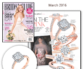 """Bridal Guide"" Article ""All That Glitters – In The Pink"" Illustrates Rose Gold Trends With Sylvie's Emerald Cut Engagement Ring!"