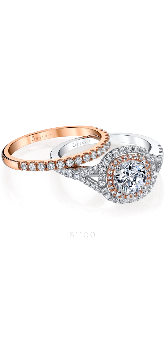 Cushion Shaped Double Halo Engagement Ring with Two-Tone Accents