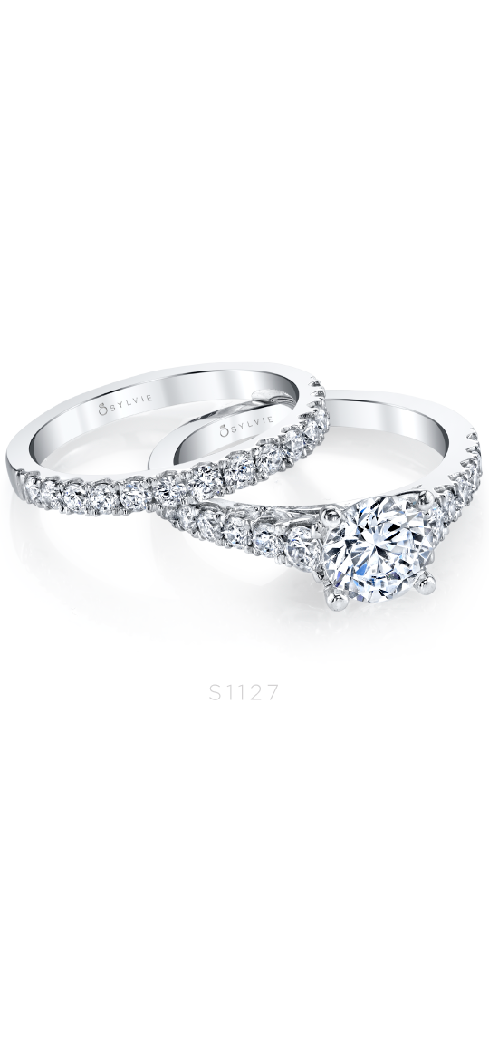 Luna – Classic Solitaire Diamond Engagement Ring and Wedding Band