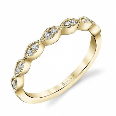 Madeleina - Yellow Gold & Diamond Stackable Wedding Band