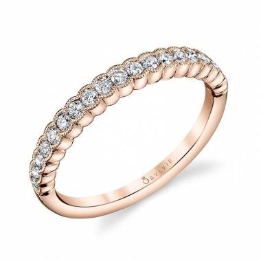 Maeva Rose Gold Stackable Wedding Band B0022 Sylvie
