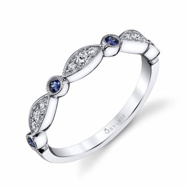 Talia - Blue Sapphire and Diamond Vintage Wedding Band