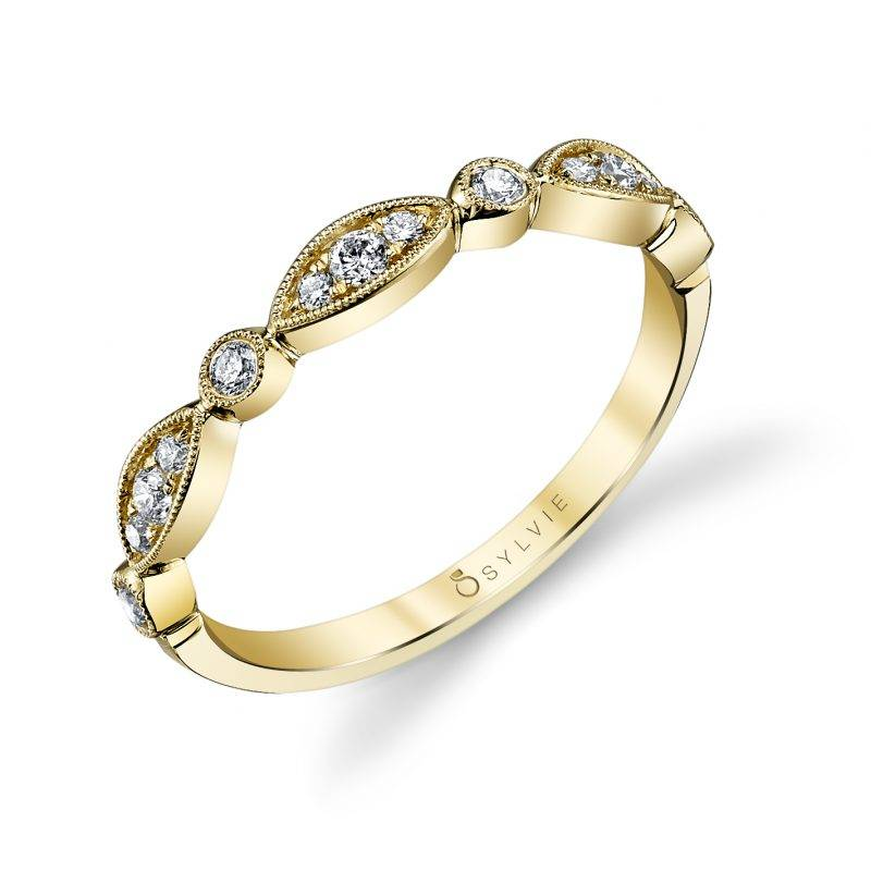 Maeva - Yellow Gold Stackable Wedding Band - B0022