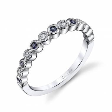 Béatrice – Round White Gold & Blue Sapphire Stackable Wedding Band