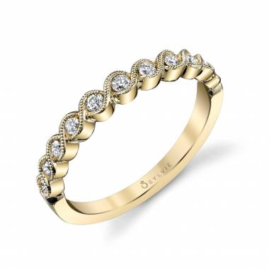 Dalia – Yellow Gold & Diamond Stackable Wedding Band