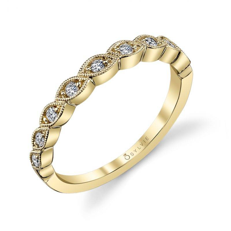 Dalia - Yellow Gold & Diamond Stackable Wedding Band - B0015