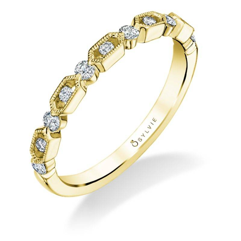 Chloé - White Gold & Diamond Stackable Wedding Band - B0021