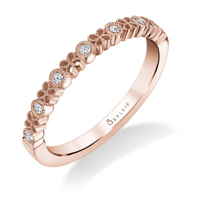 Angeline - White Gold Stackable Wedding Band - B0010