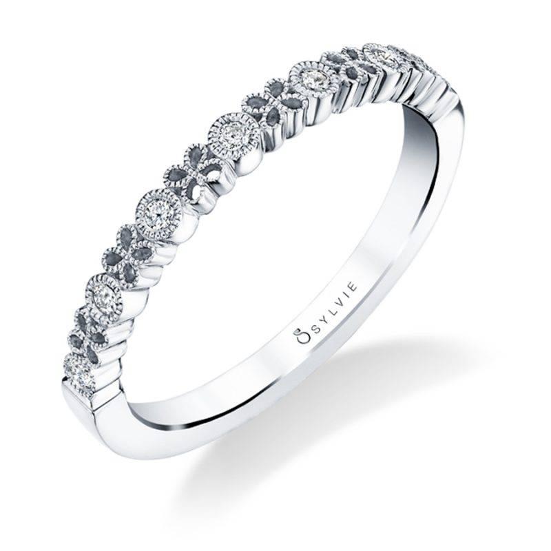 Fiona - White Gold & Diamond Stackable Wedding Band - B0016
