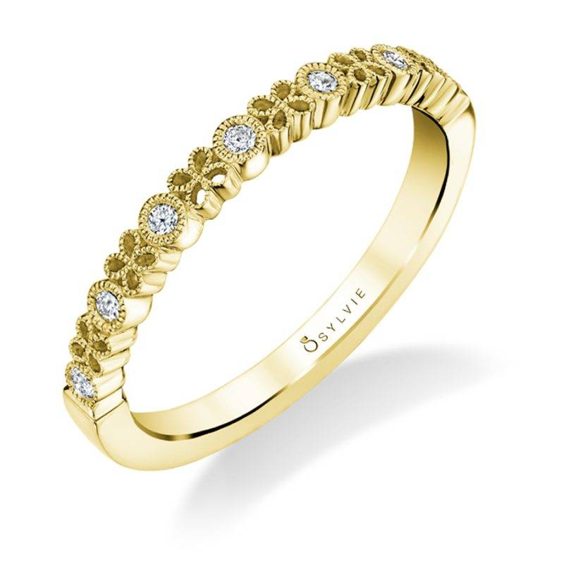 Hélèna - Yellow Gold & Diamond Stackable Wedding Band - B0023