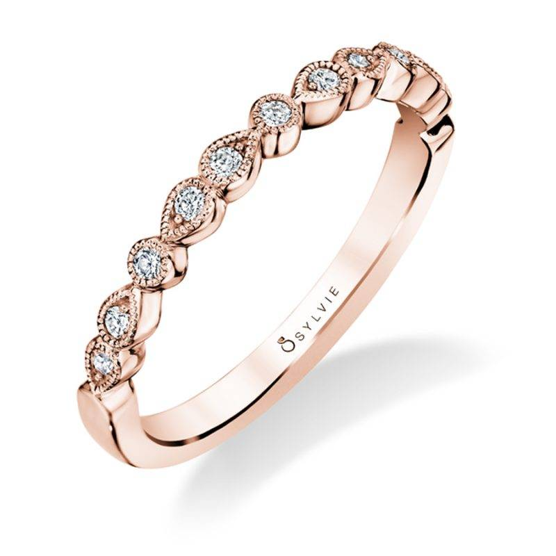 Hélèna - Rose Gold & Diamond Stackable Wedding Band - B0023