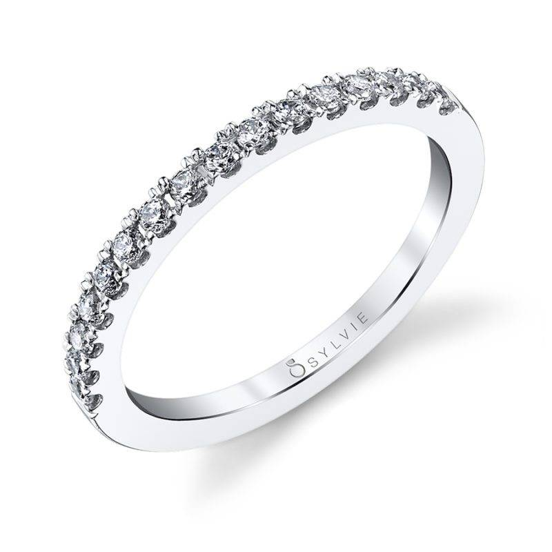 Curved Wedding Band with Milgrain Accents - BSY429