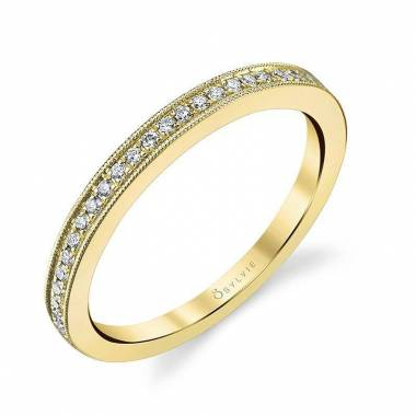 Yellow Gold Wedding Band with Milgrain Accents