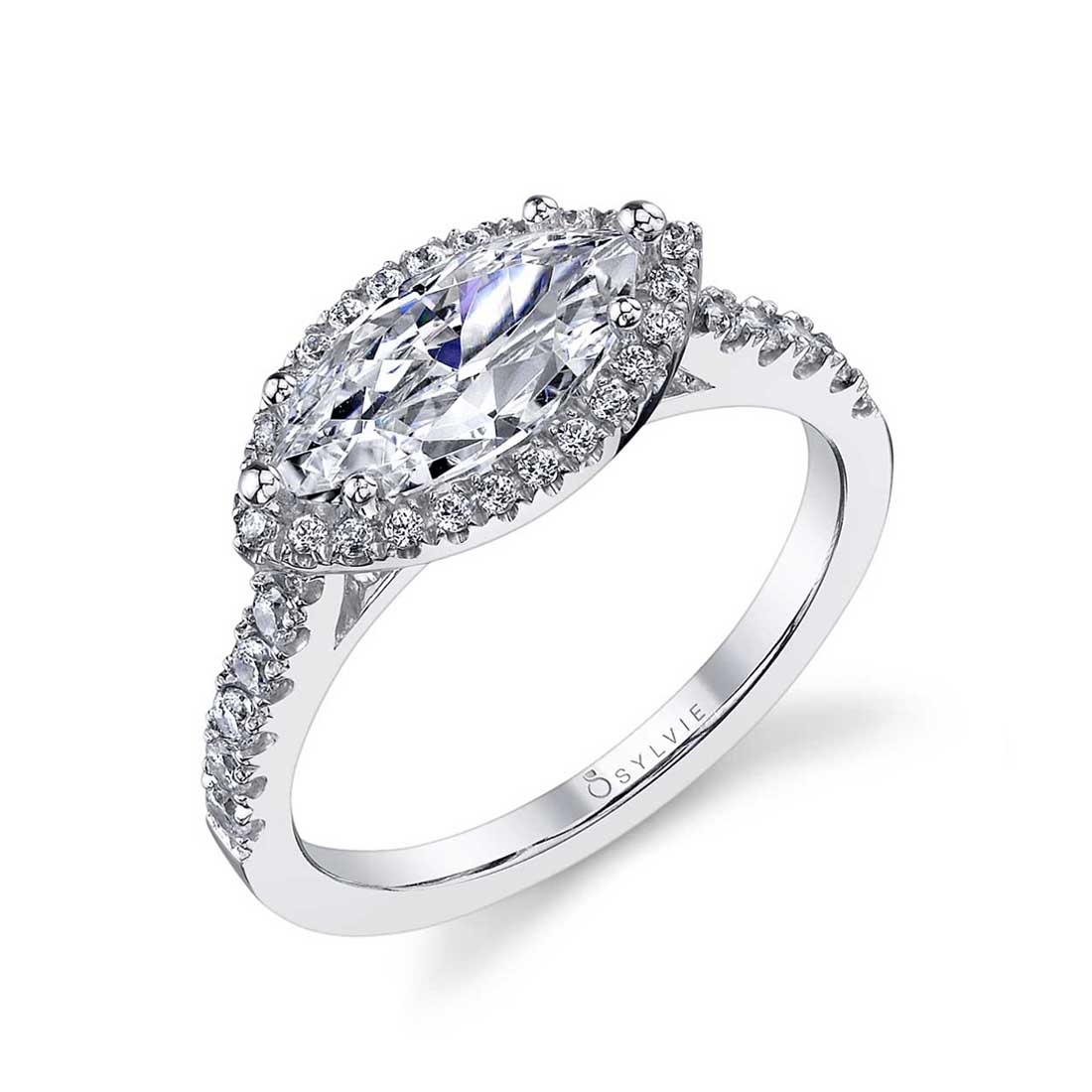 East West Marquise Engagement Ring with Halo Sylvie-SY980