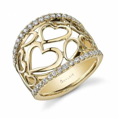 Free Form Rose Gold Diamond Fashion Ring - FR729