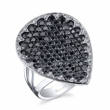 Black and White Diamond Fashion Ring - FR615