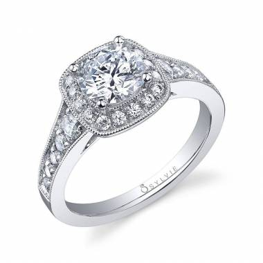 Vintage Engagement Ring with Cushion Halo_S1003-058A4W10R