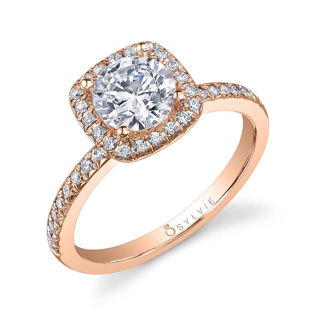 Lisette - Round Cushion Halo Engagement Ring