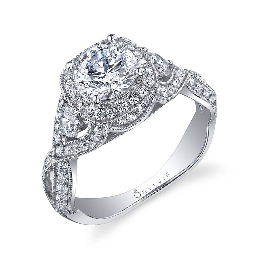 Vintage Inspired Round Cushion Halo Engagement Ring_S1015S82A4W10RC