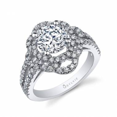 Nina - Cushion Cut Split Shank Engagement Ring - SY337