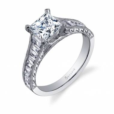 Charlize - Princess Cut Baquette Engagement Ring - S1051