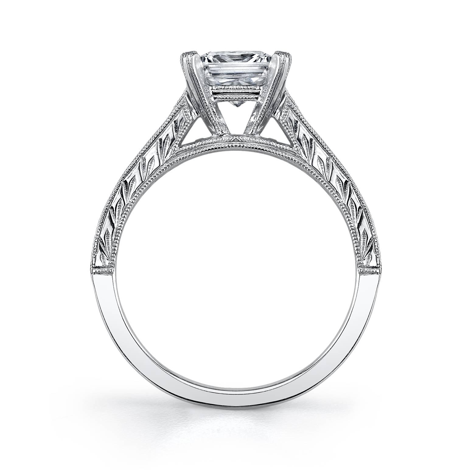 Charlize - Princess Cut Baquette Engagement Ring - S1051