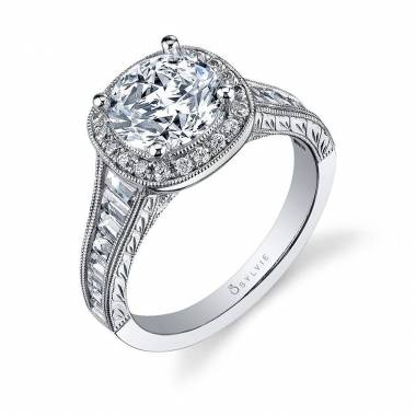 vintage inspired halo baguette engagement ring_S1056-113A4W20R
