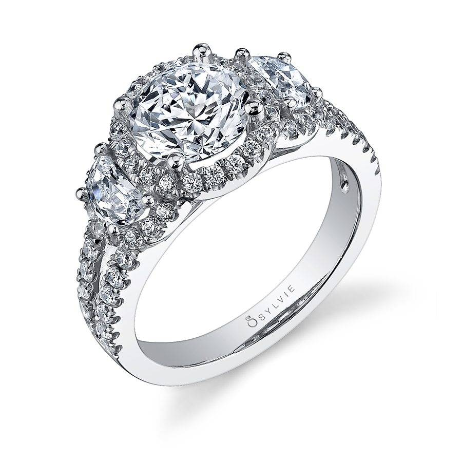 Francine - Split Shank Engagement Ring with Halo - SY971