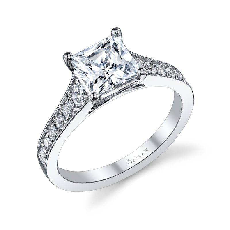 Charlize - Classic Hand Engraved Solitaire Engagement Ring - S1051