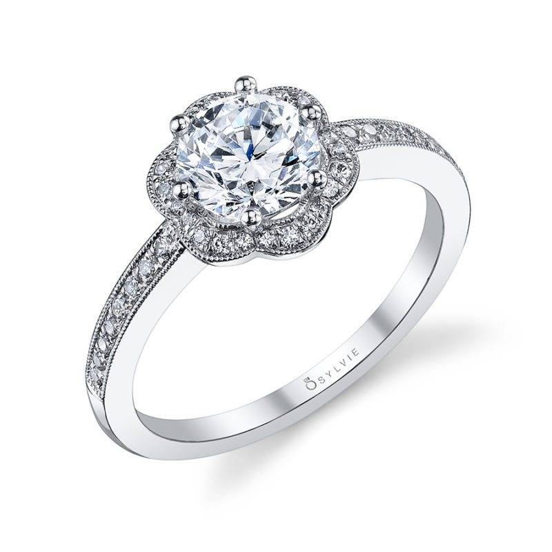 Leonie - Floral Halo Engagement Ring - S1089