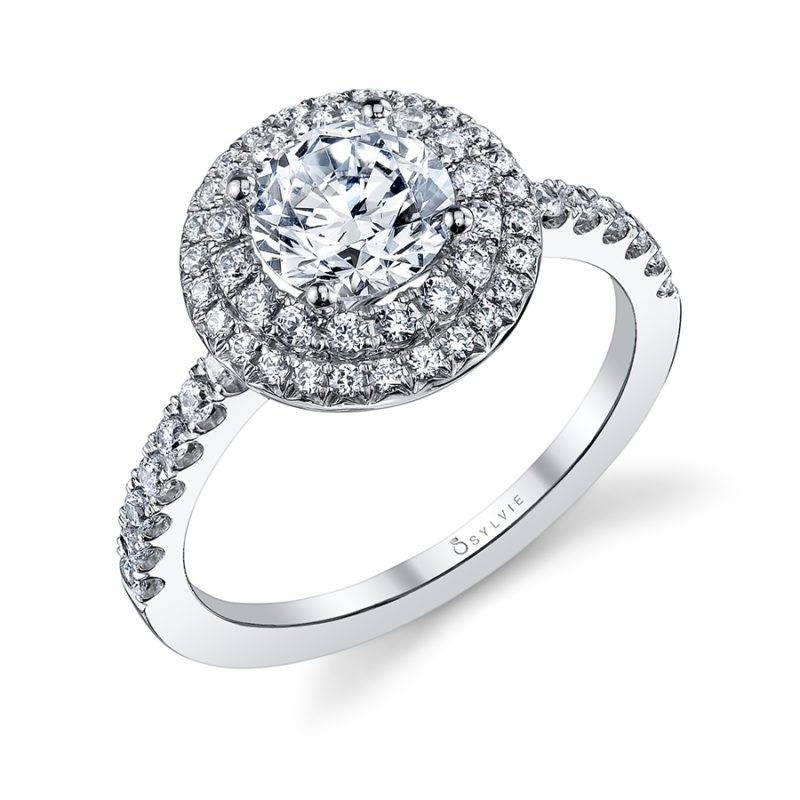 Rose - Round Double Halo Engagement Ring - S1100