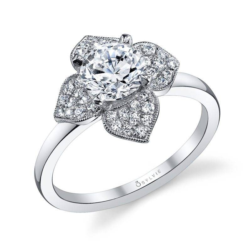 Julia - Flower Inspired Cushion Cut Halo Engagement Ring - S1348