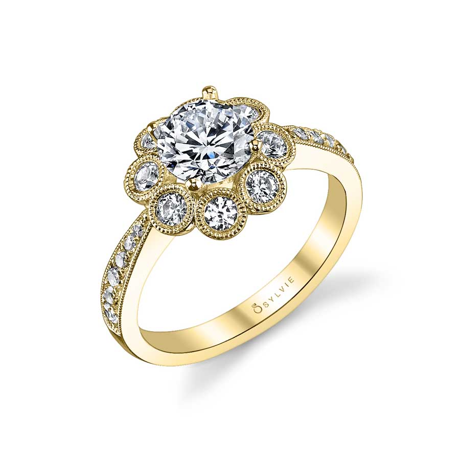 Flower Inspired Halo Engagement Ring_S1102-058A4W10R
