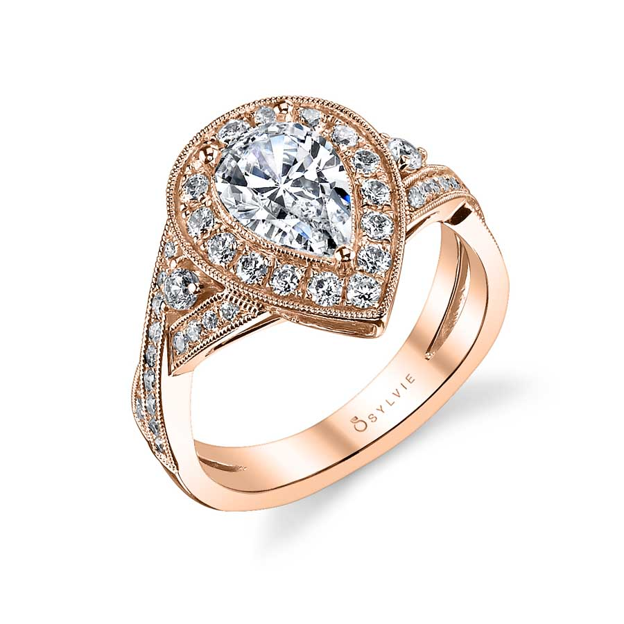 Claudette – Vintage Pear Shaped Spiral Engagement Ring with Halo