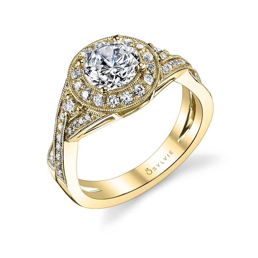 Vintage Inspired Spiral Engagement Ring with Halo_S1110-053A4W10R