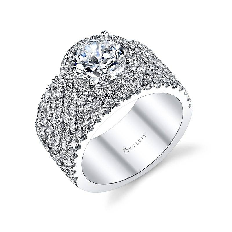 Félicité - Dramatic Round Double Halo Engagement Ring with Multi Row Band - S1117