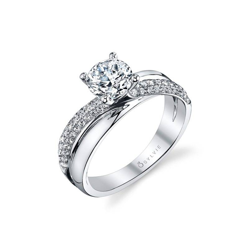 Stéphanie - Spiral Engagement Ring with Halo - SY418
