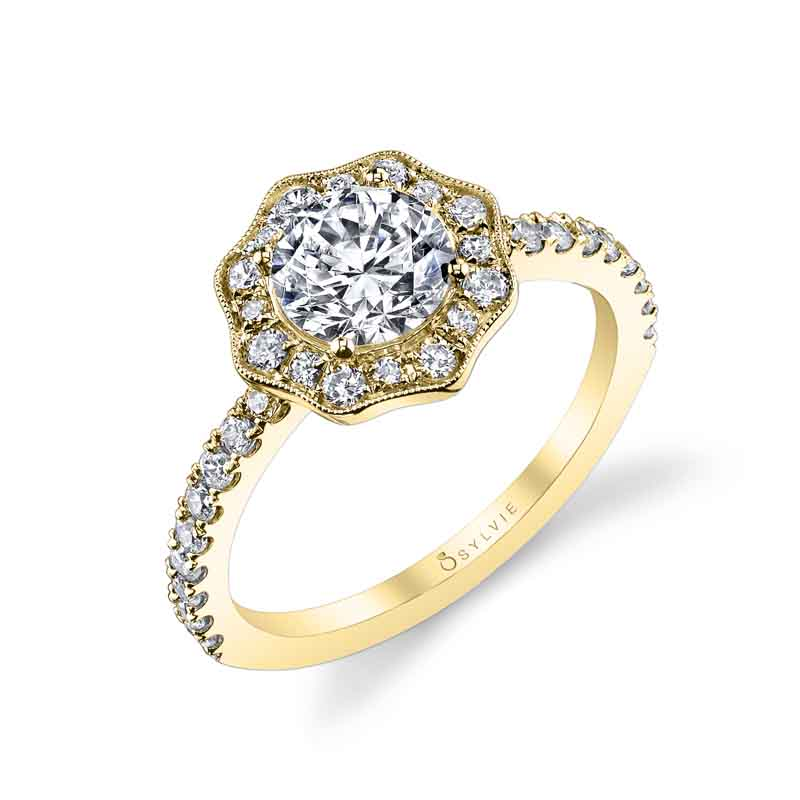 Flower Inspired Halo Engagement Ring_S1150-046A4W10R