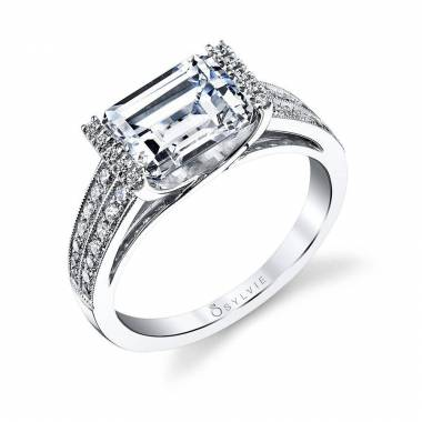 Modern West East Emerald Engagement Ring_S1154-035A4W30E