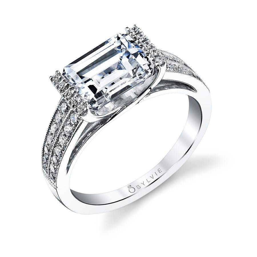 Maya - Modern West East Emerald Engagement Ring - S1154