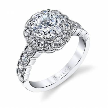 Flower Engagement Ring with Halo_S1187-104A4W15R
