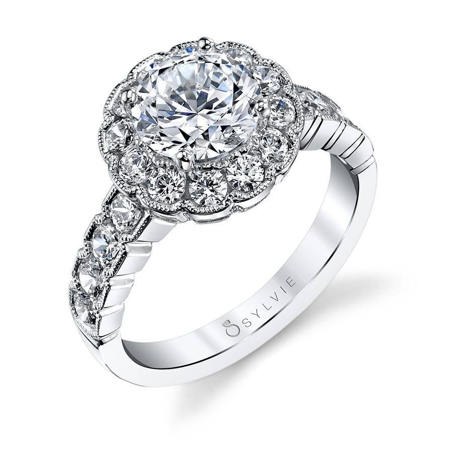 Anabella - Marquise Shaped East to West Engagement Ring with Halo - SY980