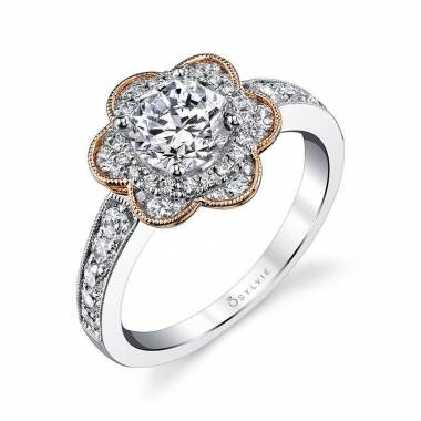 Adelia - Flower Inspired Halo Engagement Ring with Rose Gold Accents - S1192
