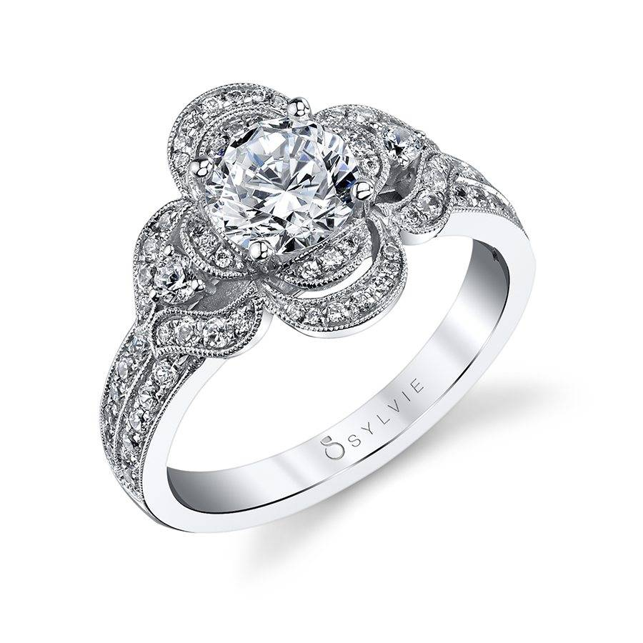 Flower Inspired Halo Engagement Ring_S1193S-49A4W10R