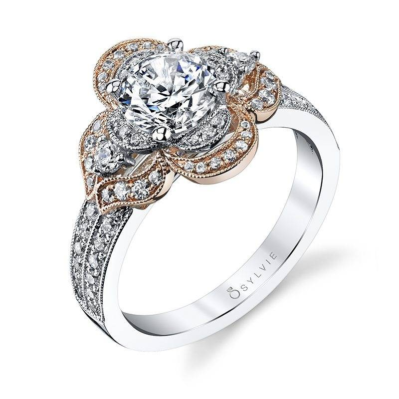 Floressa – Flower Inspired Halo Engagement Ring with Rose Gold Accents