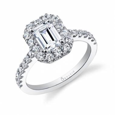 Joanne – Emerald Cut Halo Engagement Ring